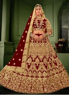 Velvet Embroidered Lehenga Choli in Maroon