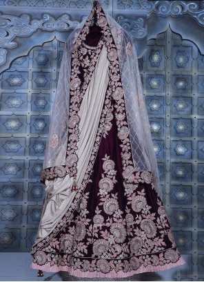 Velvet Embroidered Lehenga Choli in Wine