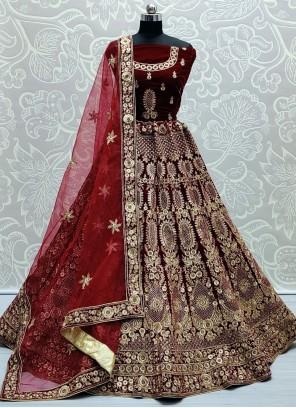 Velvet Embroidered Maroon Lehenga Choli