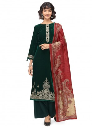 Velvet Embroidered Trendy Salwar Suit in Green