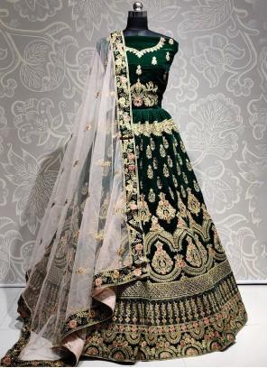 Velvet Green Embroidered Bollywood Lehenga Choli