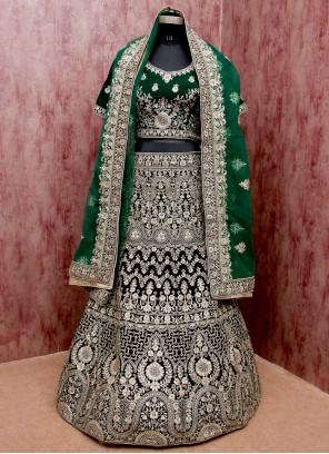 Velvet Green Embroidered Lehenga Choli