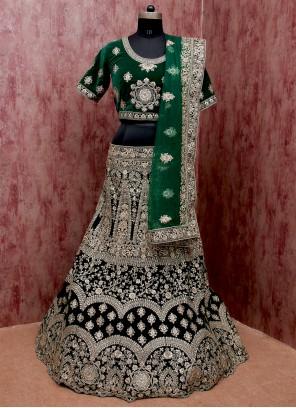 Velvet Lehenga Choli in Green