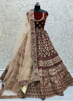 Velvet Lehenga Choli in Maroon