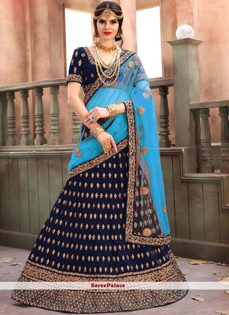 Velvet Lehenga Choli in Navy Blue
