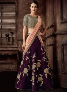 Velvet Lehenga Style Saree in Purple