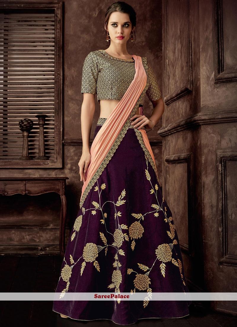Velvet Lehenga Style Saree in Purple