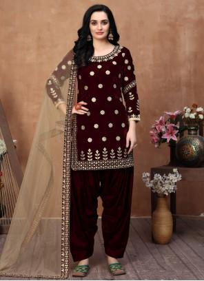 Velvet Maroon Embroidered Designer Patiala Salwar Kameez