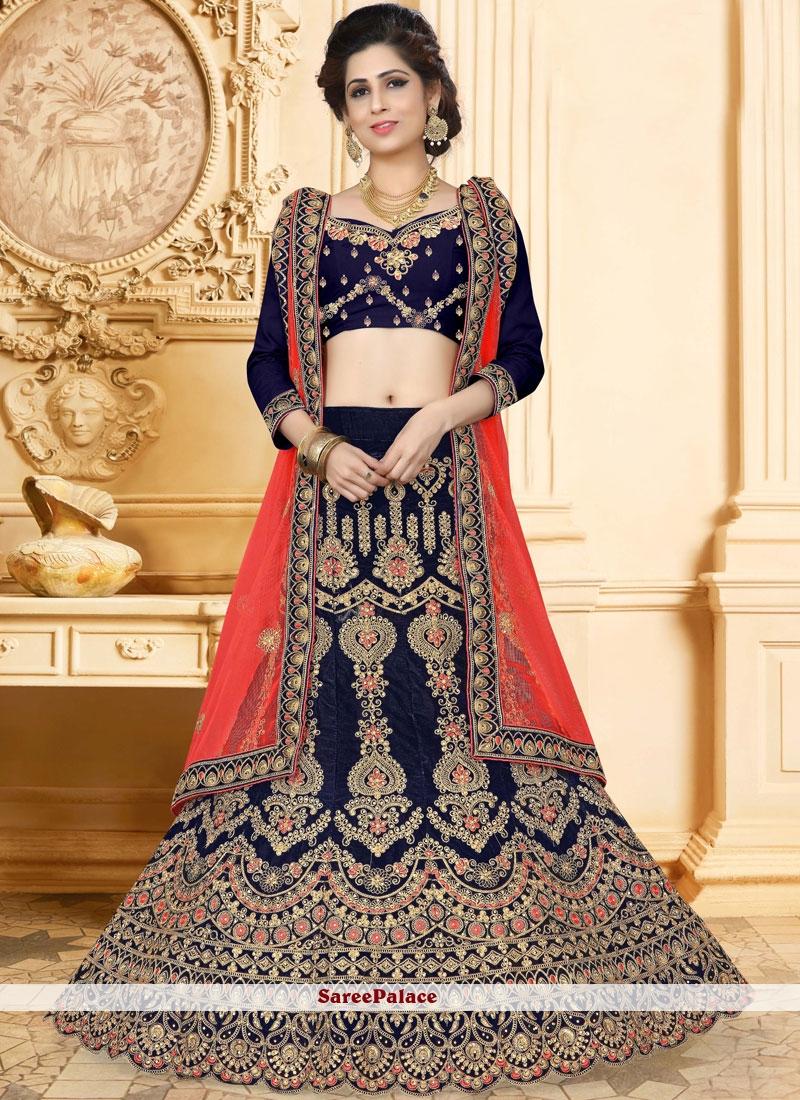 Velvet Navy Blue Zari Designer Lehenga Choli