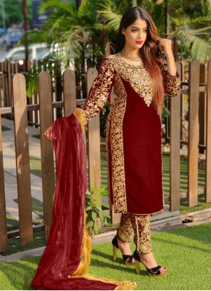 Velvet Pant Style Suit in Red