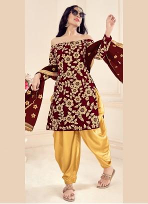 Velvet Party Brown Patiala Suit