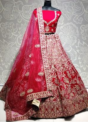 Velvet Pink Embroidered Designer Lehenga Choli
