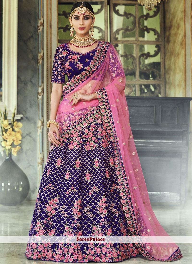 864a7e87b8 Buy Velvet Purple Lehenga Choli Online