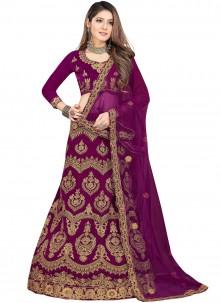 Velvet Purple Trendy Lehenga Choli