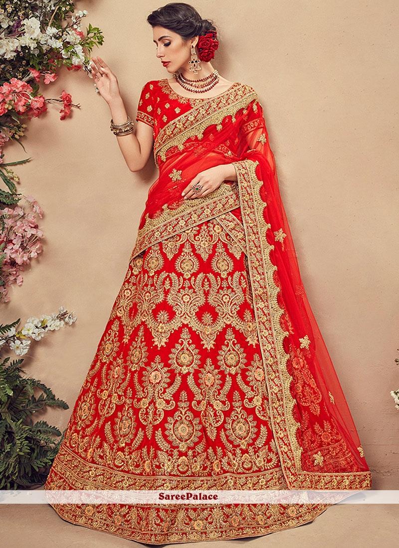 33e9b05819 Buy Velvet Red Embroidered Designer Lehenga Choli Online