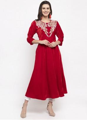 Velvet Red Plain Readymade Salwar Kameez