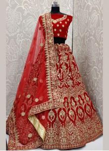 Velvet Red Sequins Trendy Designer Lehenga Choli
