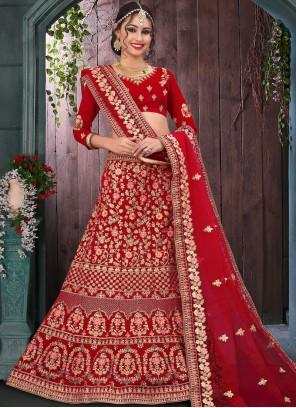 Velvet Red Trendy Lehenga Choli