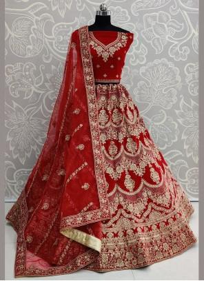 Velvet Resham Lehenga Choli in Red