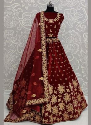 Velvet Resham Maroon Designer Lehenga Choli