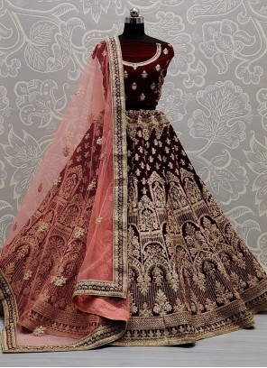 Velvet Thread Work Maroon Lehenga Choli