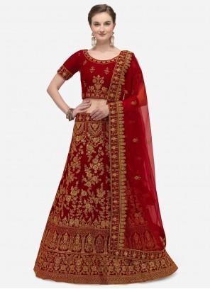 Velvet Zari A Line Lehenga Choli in Red