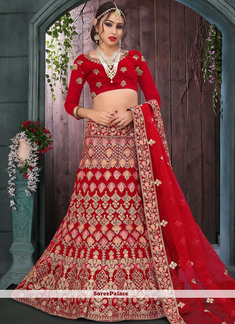 ac7cd5f6a5 Buy Velvet Zari Red Designer Lehenga Choli Online