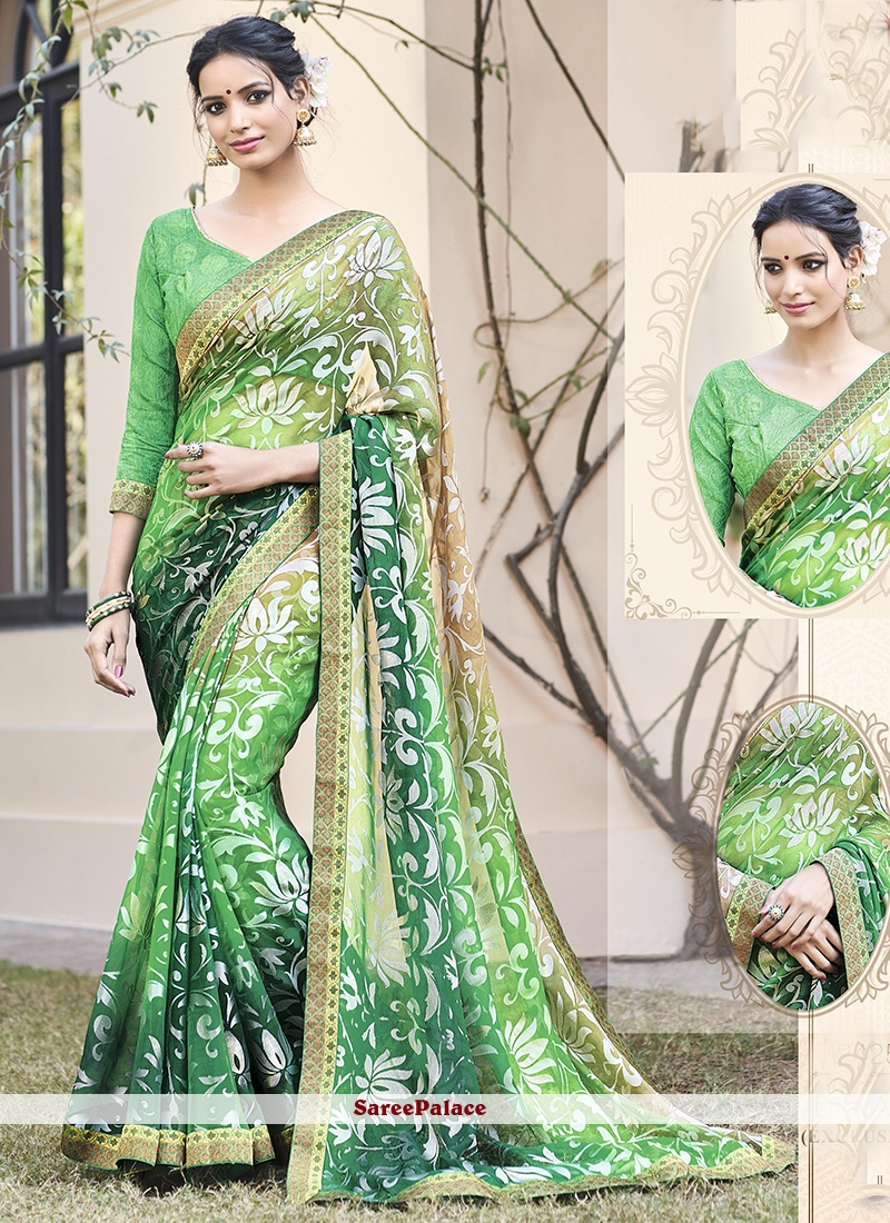 Versatile Green Lace Work Printed Saree