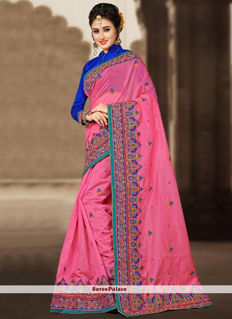 Vibrant Chanderi Pink Classic Designer Saree