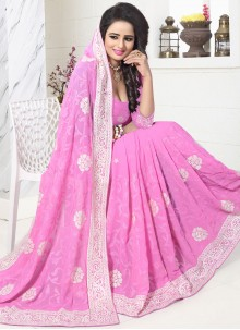 Vibrant Faux Georgette Embroidered Work Designer Saree