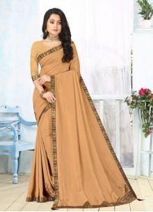 Vichitra Silk Beige Lace Classic Saree