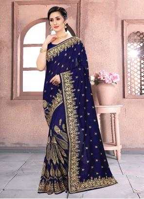 Vichitra Silk Blue Embroidered Classic Designer Saree