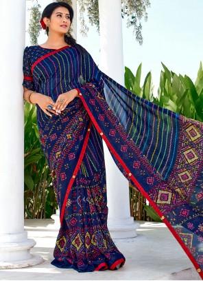 Vichitra Silk Blue Casual Saree