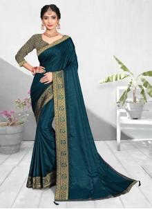 Vichitra Silk Ceremonial Teal Designer Traditional Saree