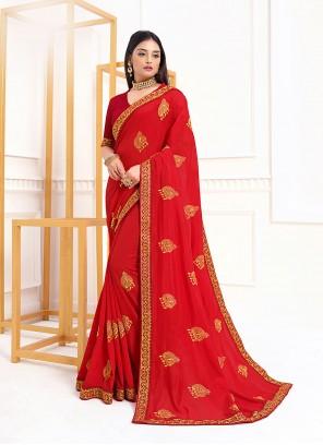 Red Vichitra Silk Classic Designer Saree