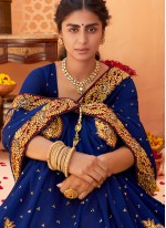 Vichitra Silk Embroidered Blue Classic Saree
