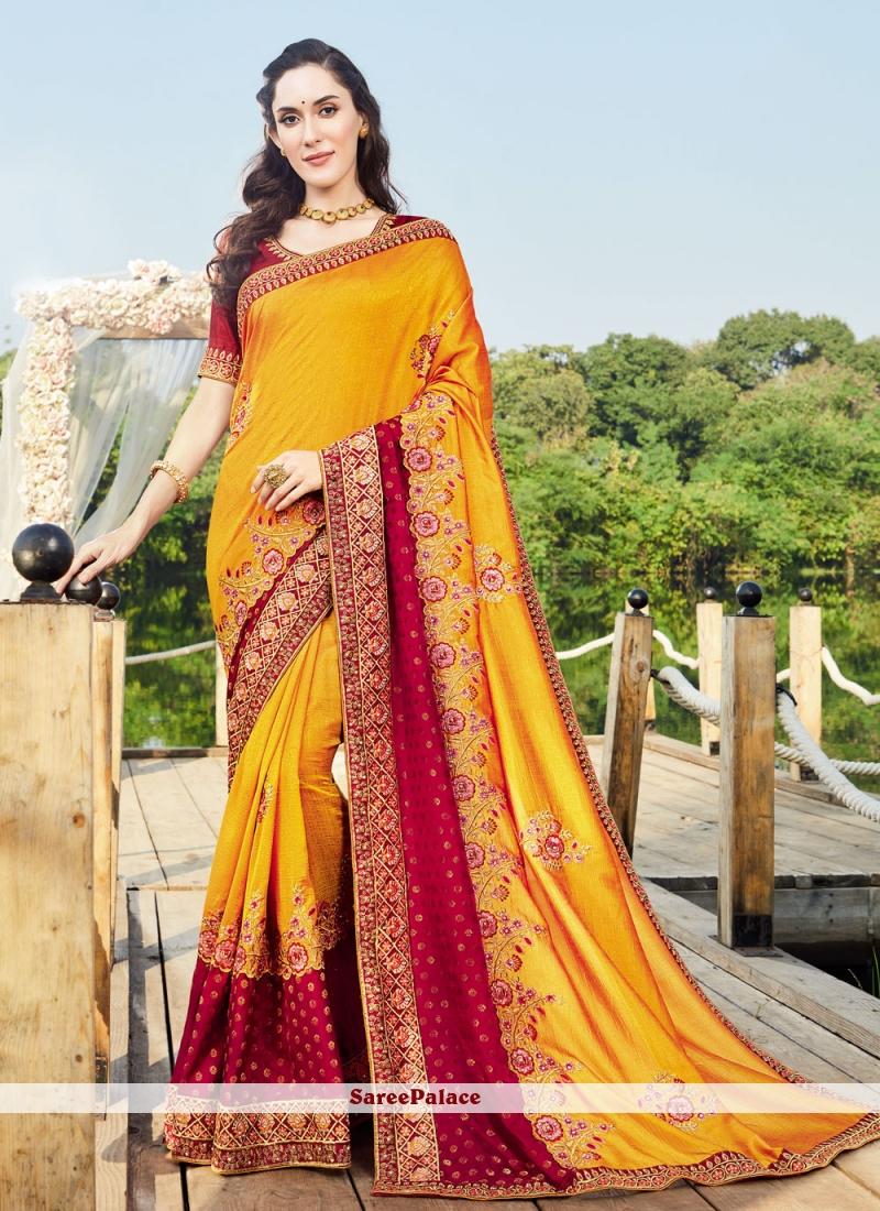 Yellow Vichitra Silk Embroidered Designer Saree