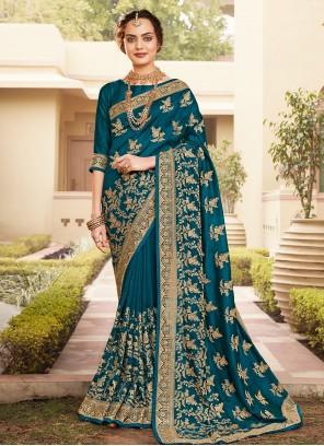 Vichitra Silk Embroidered Designer Saree