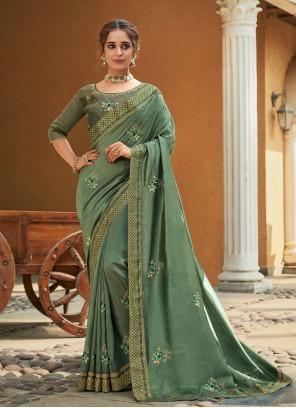 Vichitra Silk Embroidered Sea Green Traditional Designer Saree