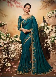 Vichitra Silk Embroidered Traditional Designer Saree in Rama