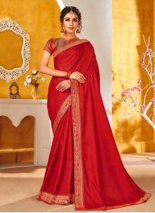 Red Vichitra Silk Engagement Traditional Saree