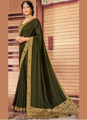 Vichitra Silk Fancy Green Traditional Saree