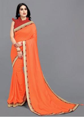 Orange Vichitra Silk Festival Classic Saree
