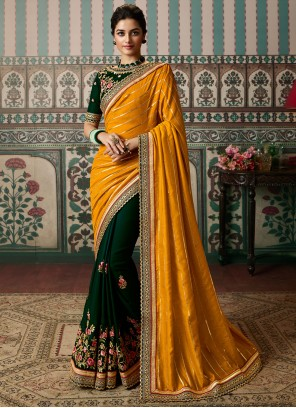 Green Vichitra Silk Festival Half N Half  Saree