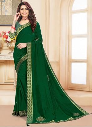 Vichitra Silk Green Classic Designer Saree