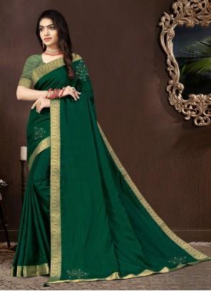 Vichitra Silk Green Designer Traditional Saree