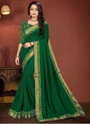 Vichitra Silk Green Lace Classic Saree