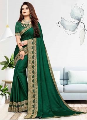 Vichitra Silk Green Woven Traditional Saree