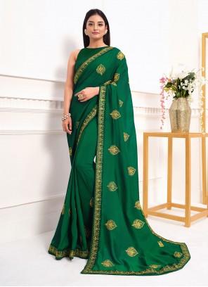 Vichitra Silk Green Zari Classic Saree