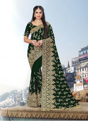 Vichitra Silk Green Zari Trendy Saree